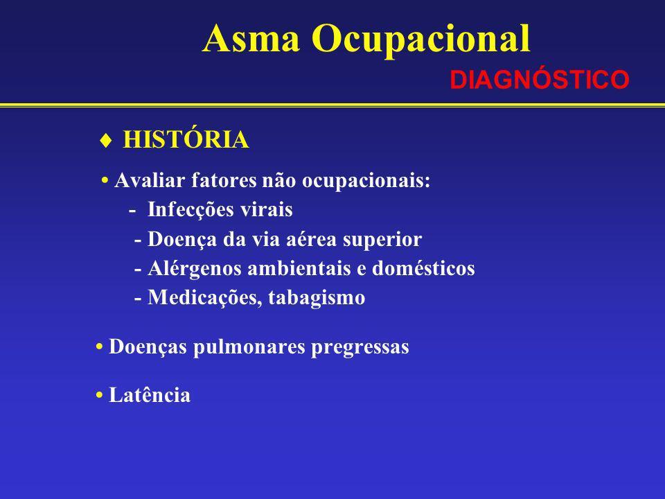 Asma Ocupacional HISTÓRIA Avaliar fatores não ocupacionais: - Infecções virais - Doença da via aérea superior - Alérgenos ambientais e domésticos - Me
