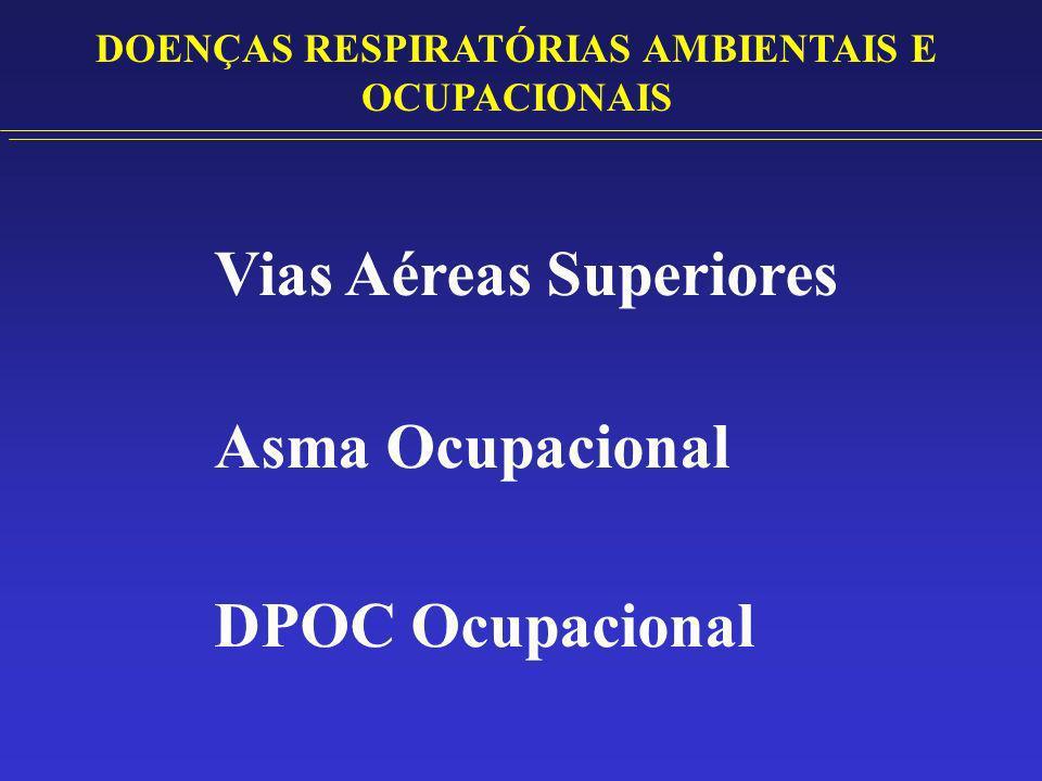 Vias Aéreas Superiores Rinosinusopatias IRRITANTES – Produtos de limpeza ácidos ou alcalinos (Cloro, Amônia e Ácidos Fortes) Compostos orgânicos voláteis Dióxido de Enxofre, Ozônio, Fumaça SENSIBILIZANTES – Proteínas animais e vegetais (grãos, pólens e excrementos) Anidridos ácidos DOENÇAS RESPIRATÓRIAS AMBIENTAIS E OCUPACIONAIS