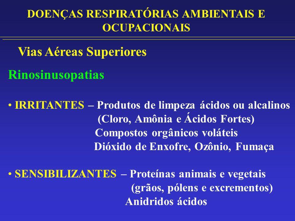 Vias Aéreas Superiores Rinosinusopatias IRRITANTES – Produtos de limpeza ácidos ou alcalinos (Cloro, Amônia e Ácidos Fortes) Compostos orgânicos volát