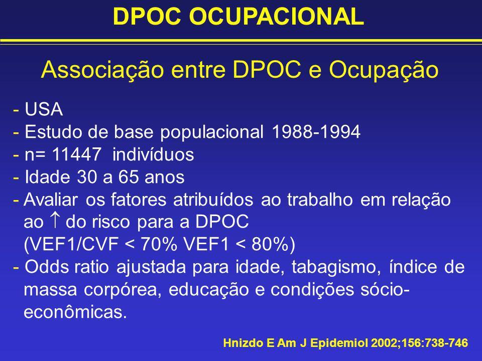 - USA - Estudo de base populacional 1988-1994 - n= 11447 indivíduos - Idade 30 a 65 anos - Avaliar os fatores atribuídos ao trabalho em relação ao do