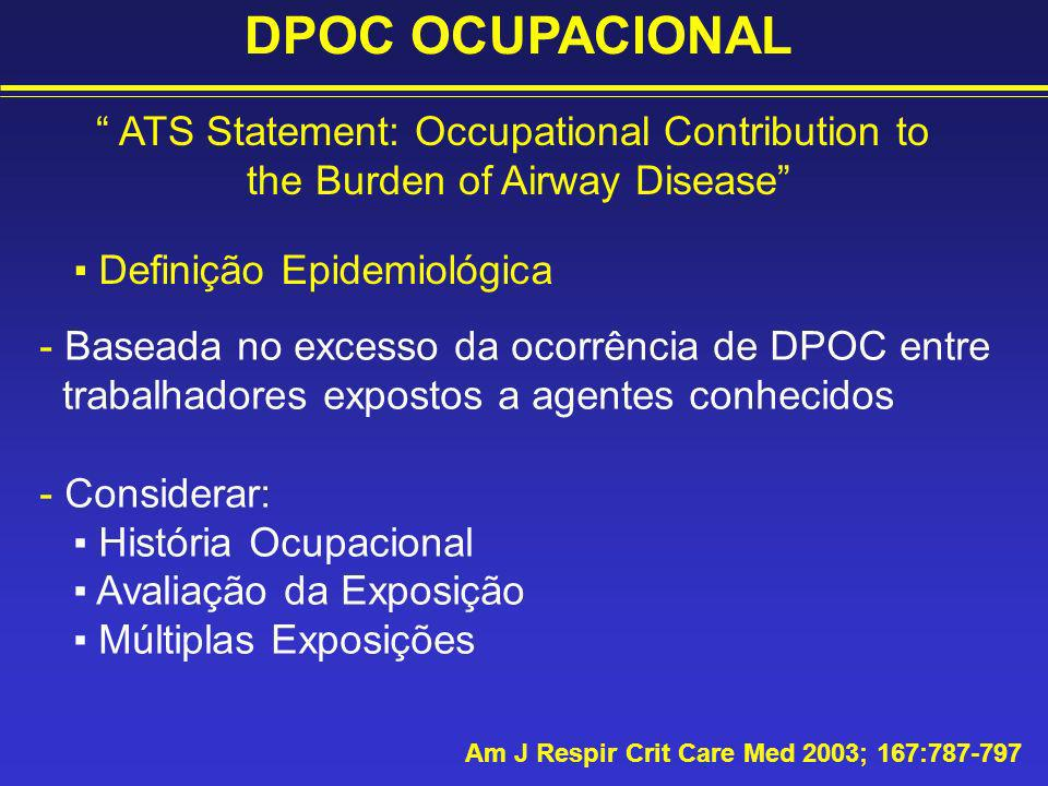 DPOC OCUPACIONAL Am J Respir Crit Care Med 2003; 167:787-797 ATS Statement: Occupational Contribution to the Burden of Airway Disease Definição Epidem