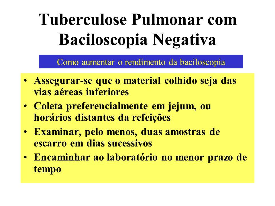 Tuberculose Pulmonar com Baciloscopia Negativa Assegurar-se que o material colhido seja das vias aéreas inferiores Coleta preferencialmente em jejum,
