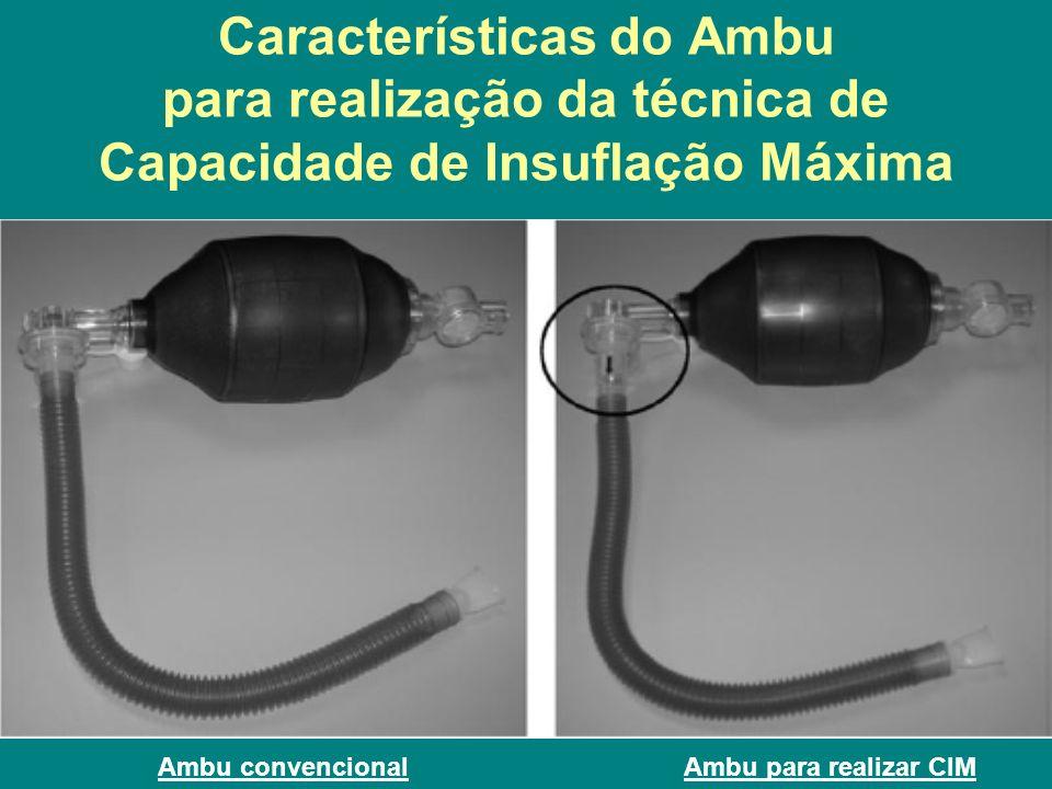 Características do Ambu para realização da técnica de Capacidade de Insuflação Máxima Ambu convencionalAmbu para realizar CIM