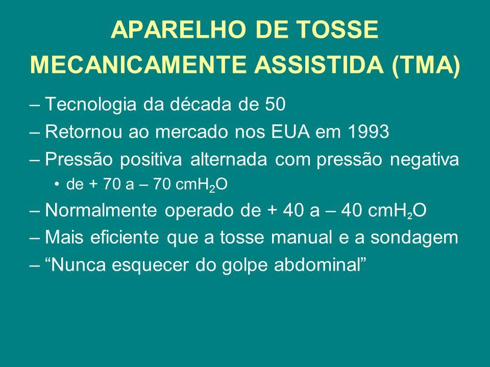 APARELHO DE TOSSE MECANICAMENTE ASSISTIDA (TMA) –Tecnologia da década de 50 –Retornou ao mercado nos EUA em 1993 –Pressão positiva alternada com press
