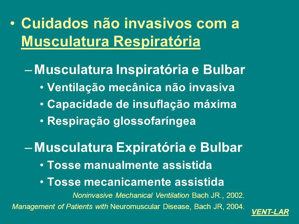 Cuidados não invasivos com a Musculatura Respiratória –Musculatura Inspiratória e Bulbar Ventilação mecânica não invasiva Capacidade de insuflação máx