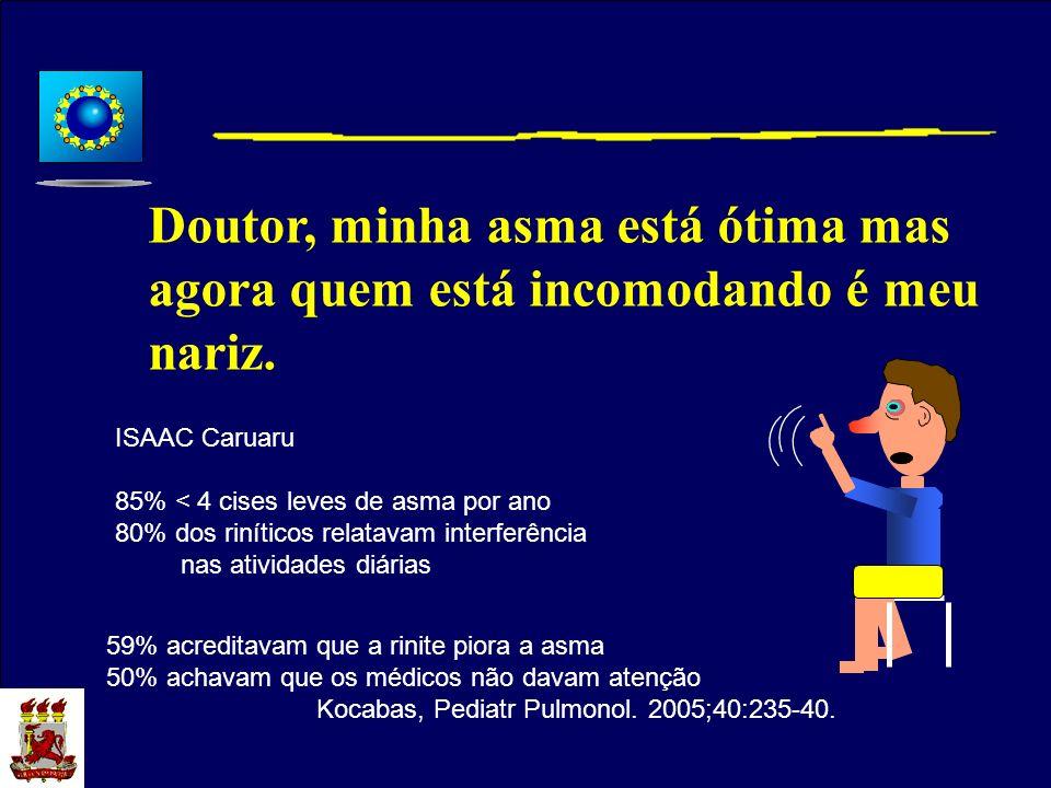 Doutor, minha asma está ótima mas agora quem está incomodando é meu nariz. ISAAC Caruaru 85% < 4 cises leves de asma por ano 80% dos riníticos relatav