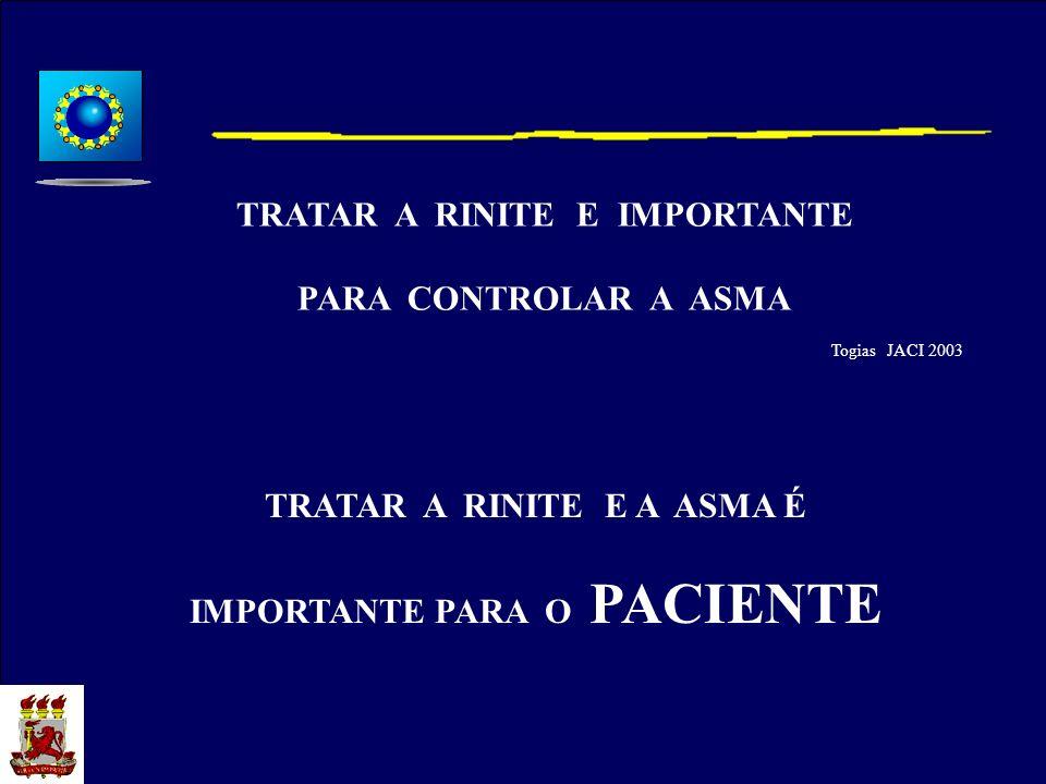 Togias JACI 2003 TRATAR A RINITE E IMPORTANTE PARA CONTROLAR A ASMA TRATAR A RINITE E A ASMA É IMPORTANTE PARA O PACIENTE