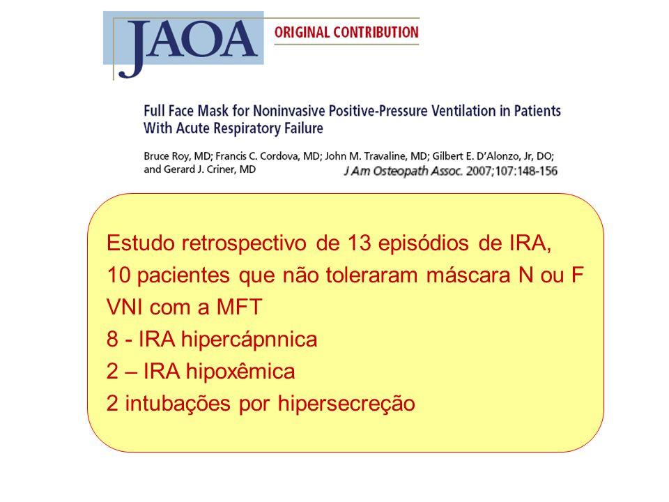 Estudo retrospectivo de 13 episódios de IRA, 10 pacientes que não toleraram máscara N ou F VNI com a MFT 8 - IRA hipercápnnica 2 – IRA hipoxêmica 2 intubações por hipersecreção