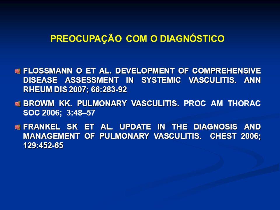 FLOSSMANN O ET AL. DEVELOPMENT OF COMPREHENSIVE DISEASE ASSESSMENT IN SYSTEMIC VASCULITIS. ANN RHEUM DIS 2007; 66:283-92 BROWM KK. PULMONARY VASCULITI