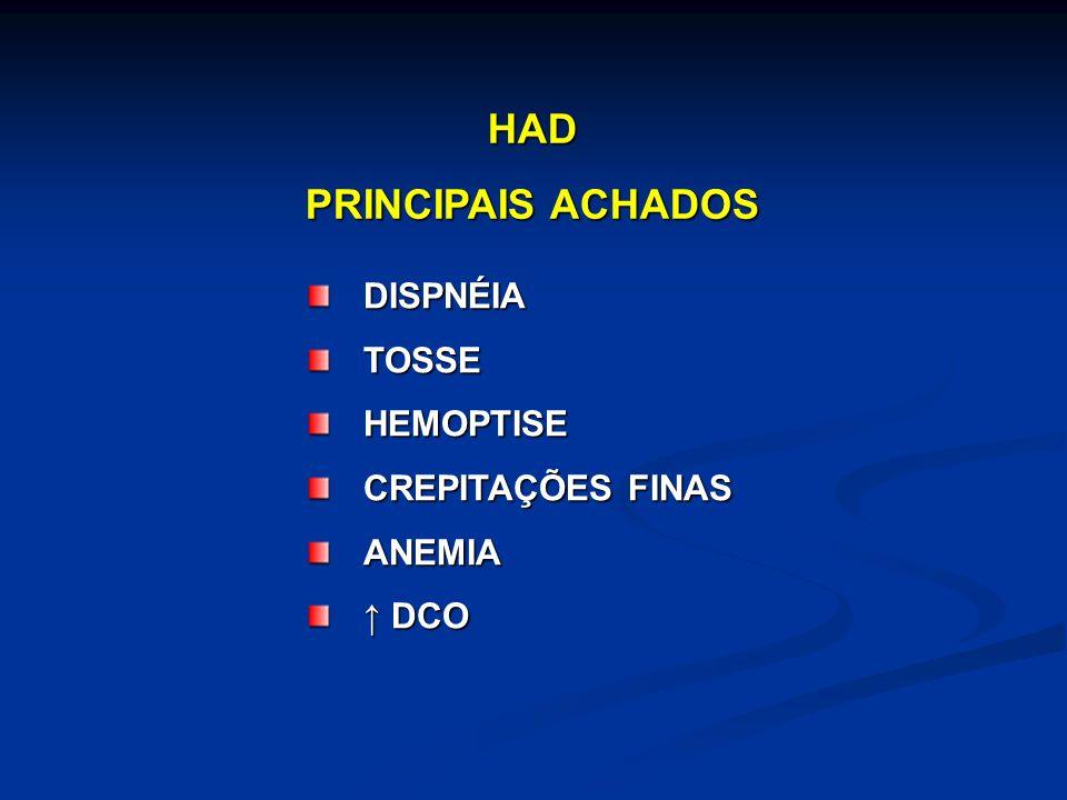DISPNÉIATOSSEHEMOPTISE CREPITAÇÕES FINAS ANEMIA DCO DCO HAD PRINCIPAIS ACHADOS