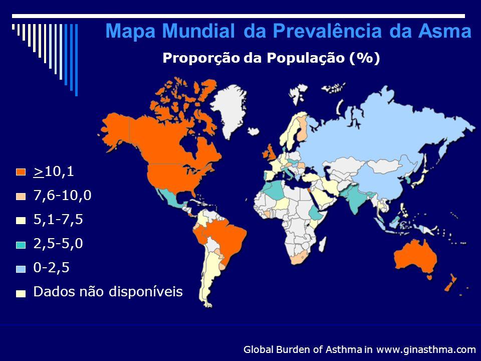 Mapa Mundial de Mortalidade por Asma (idade 5-34 anos, por 100.000 asmáticos) Global Burden of Asthma in www.ginasthma.com >10,05,1-10,00-5,0Dados não disponíveis Países destacados de acordo com a taxa de casos fatais (por 100.000 habitantes asmáticos)