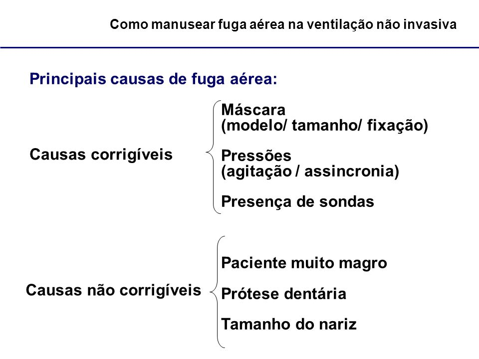 Como manusear fuga aérea na ventilação não invasiva Principais causas de fuga aérea: Máscara (modelo/ tamanho/ fixação) Pressões (agitação / assincron