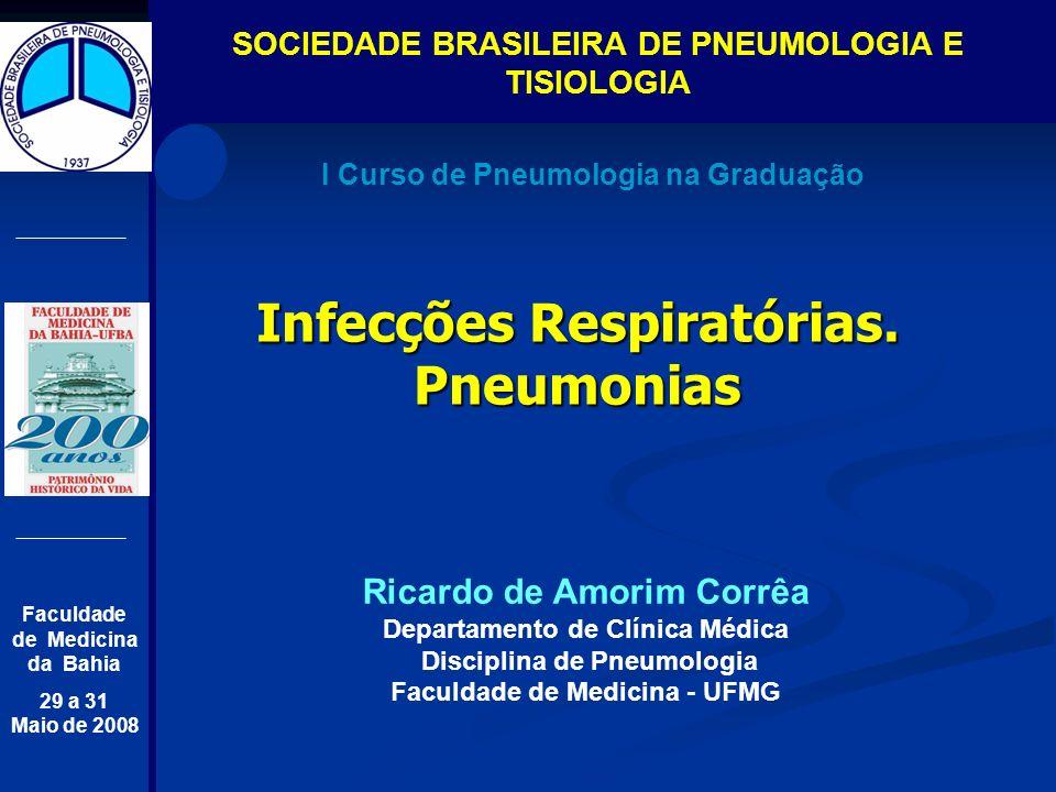 I Curso de Pneumologia na Graduação SOCIEDADE BRASILEIRA DE PNEUMOLOGIA E TISIOLOGIA Faculdade de Medicina da Bahia 29 a 31 Maio de 2008 Infecções Res
