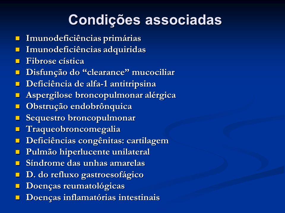Condições associadas Imunodeficiências primárias Imunodeficiências primárias Imunodeficiências adquiridas Imunodeficiências adquiridas Fibrose cística