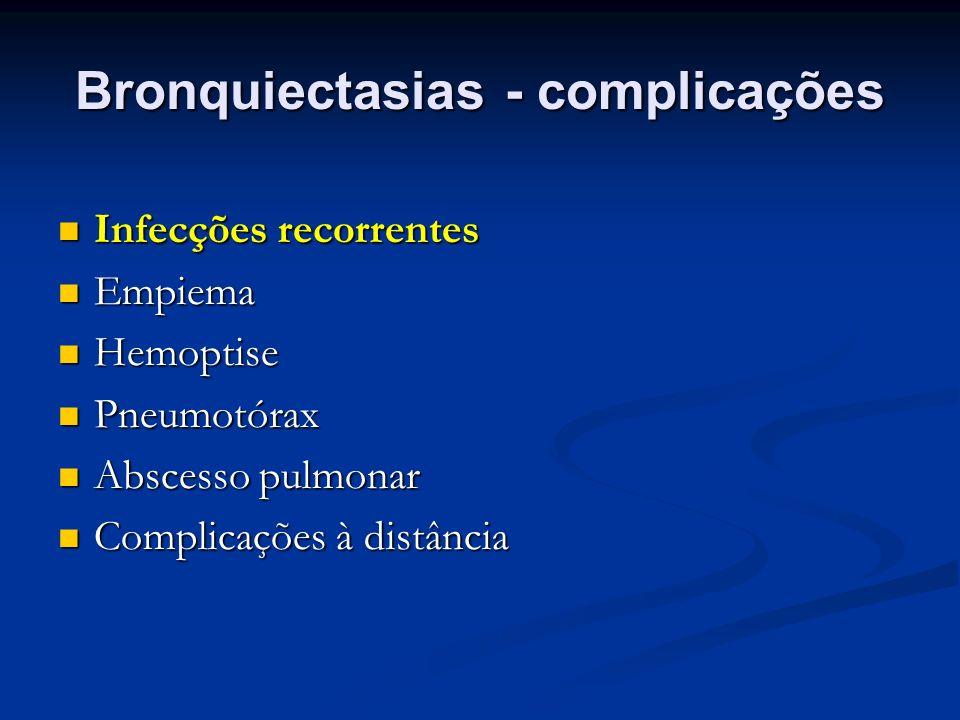 Bronquiectasias - complicações Infecções recorrentes Infecções recorrentes Empiema Empiema Hemoptise Hemoptise Pneumotórax Pneumotórax Abscesso pulmon