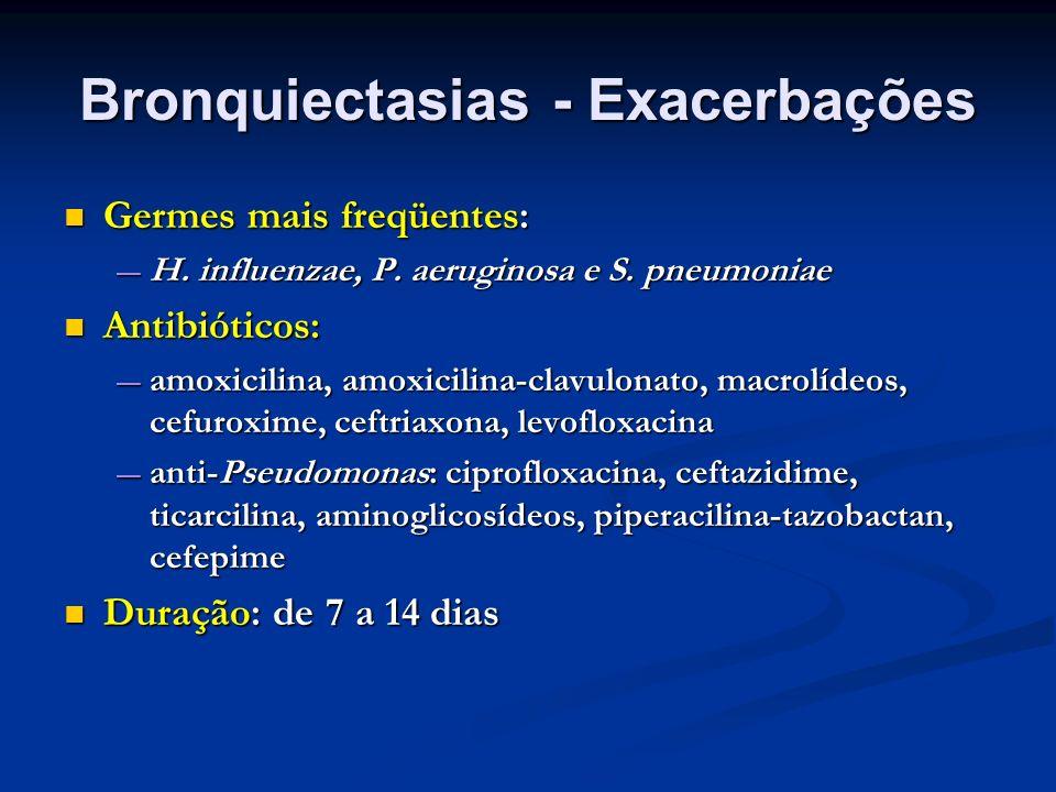 Bronquiectasias - Exacerbações Germes mais freqüentes: Germes mais freqüentes: H. influenzae, P. aeruginosa e S. pneumoniae H. influenzae, P. aerugino