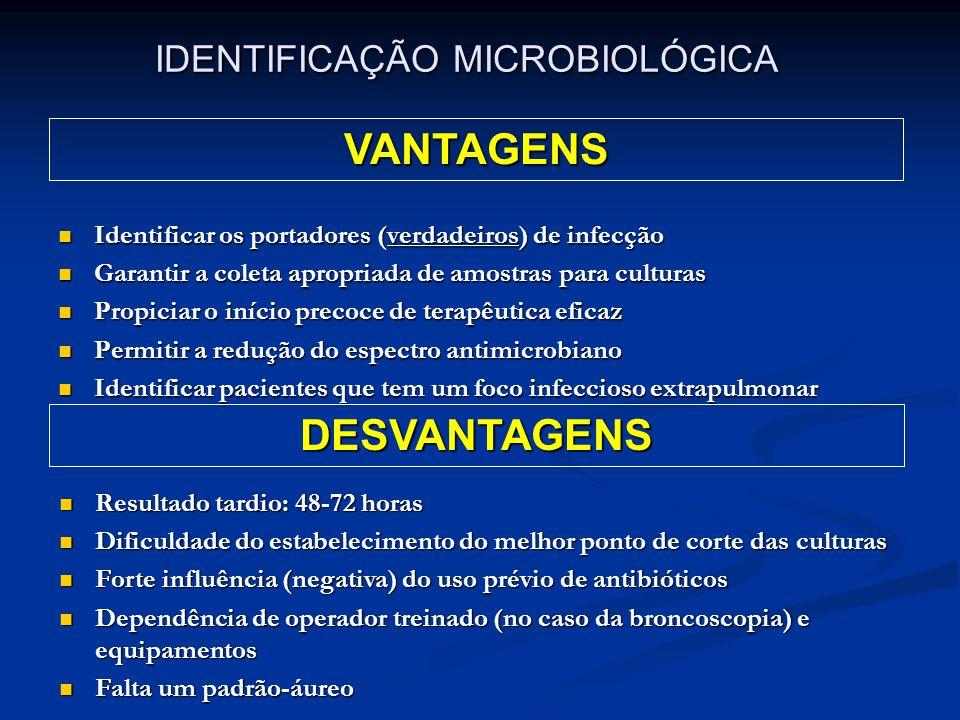 Identificar os portadores (verdadeiros) de infecção Identificar os portadores (verdadeiros) de infecção Garantir a coleta apropriada de amostras para