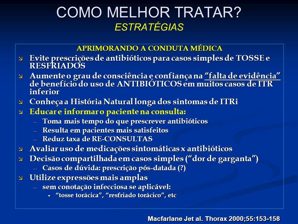 COMO MELHOR TRATAR? COMO MELHOR TRATAR? ESTRATÉGIAS APRIMORANDO A CONDUTA MÉDICA Evite prescrições de antibióticos para casos simples de TOSSE e RESFR