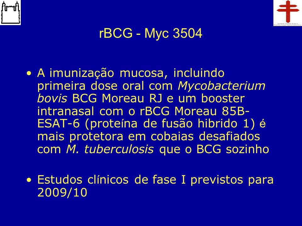 rBCG - Myc 3504 A imuniza ç ão mucosa, incluindo primeira dose oral com Mycobacterium bovis BCG Moreau RJ e um booster intranasal com o rBCG Moreau 85