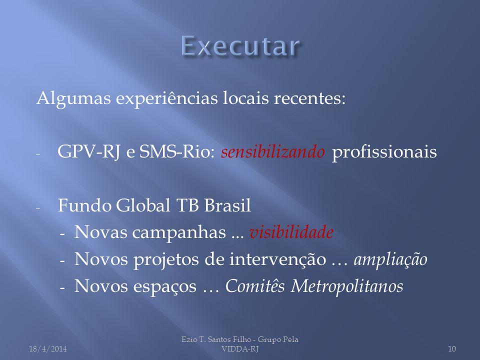 Algumas experiências locais recentes: - GPV-RJ e SMS-Rio: sensibilizando profissionais - Fundo Global TB Brasil - Novas campanhas... visibilidade - No