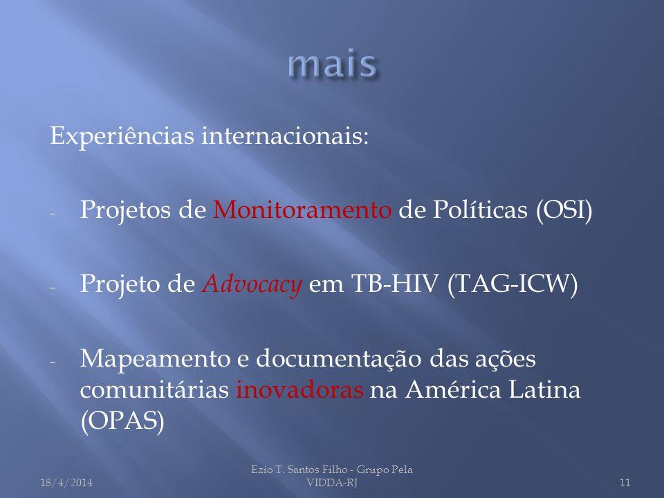 Experiências internacionais: - Projetos de Monitoramento de Políticas (OSI) - Projeto de Advocacy em TB-HIV (TAG-ICW) - Mapeamento e documentação das
