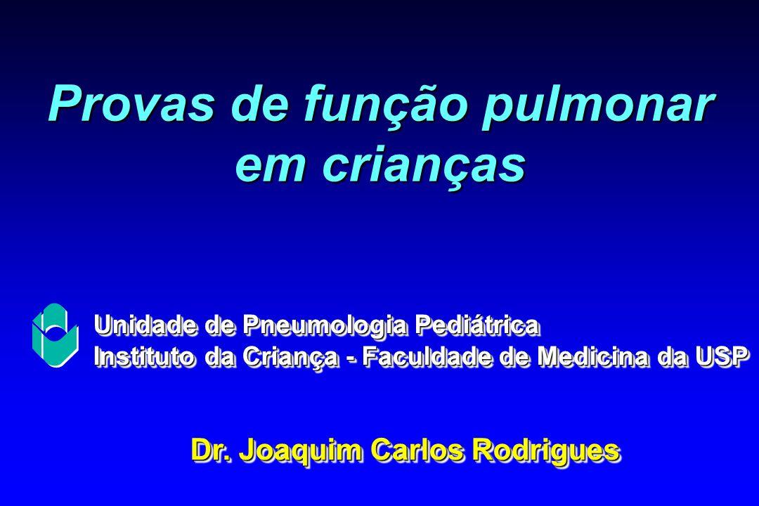 Provas de função pulmonar em crianças Dr. Joaquim Carlos Rodrigues Unidade de Pneumologia Pediátrica Instituto da Criança - Faculdade de Medicina da U