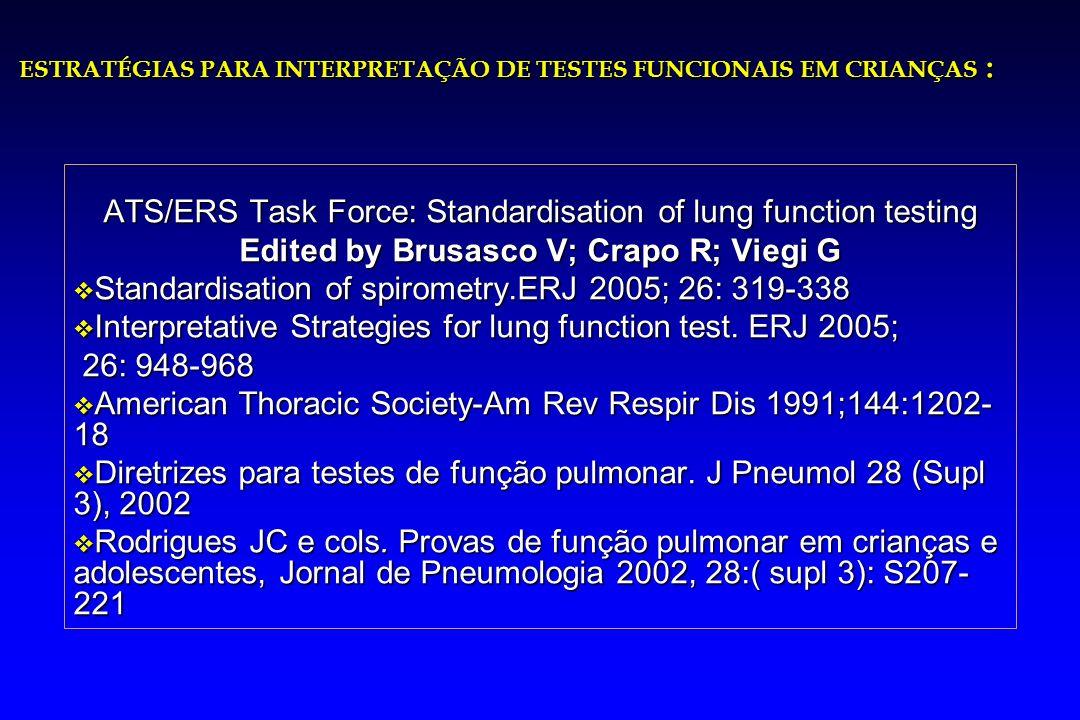 ATS/ERS Task Force: Standardisation of lung function testing Edited by Brusasco V; Crapo R; Viegi G v Standardisation of spirometry.ERJ 2005; 26: 319-