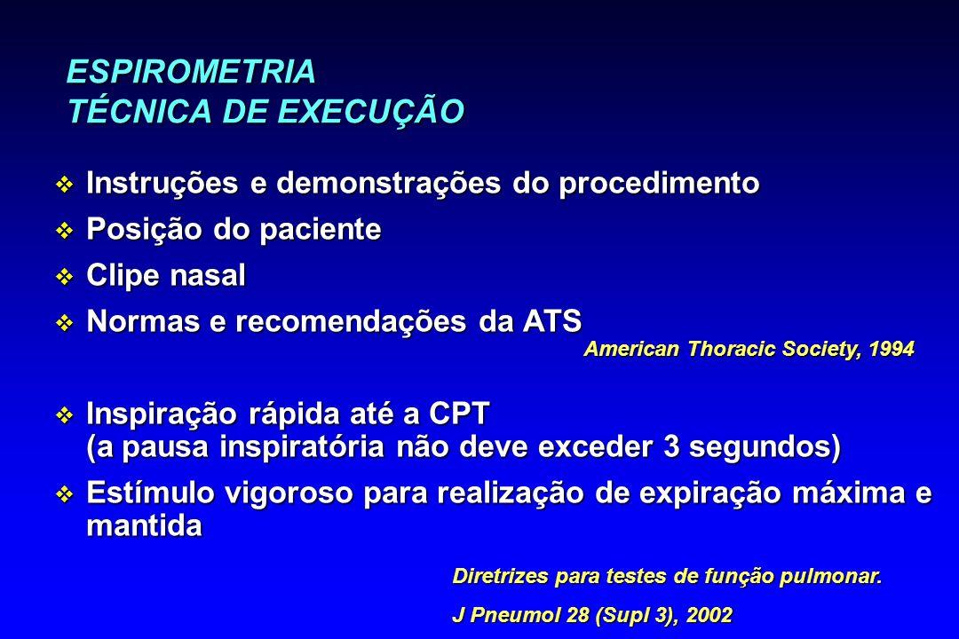 ESPIROMETRIA TÉCNICA DE EXECUÇÃO v Instruções e demonstrações do procedimento v Posição do paciente v Clipe nasal v Normas e recomendações da ATS v In