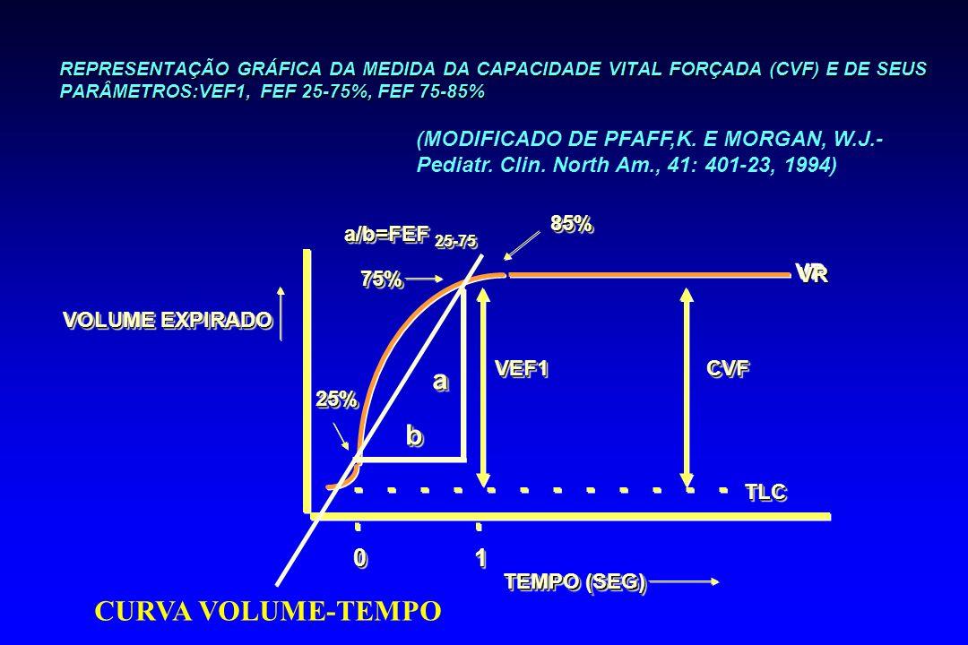 REPRESENTAÇÃO GRÁFICA DA MEDIDA DA CAPACIDADE VITAL FORÇADA (CVF) E DE SEUS PARÂMETROS:VEF1, FEF 25-75%, FEF 75-85% VOLUME EXPIRADO TEMPO (SEG) 0011 7