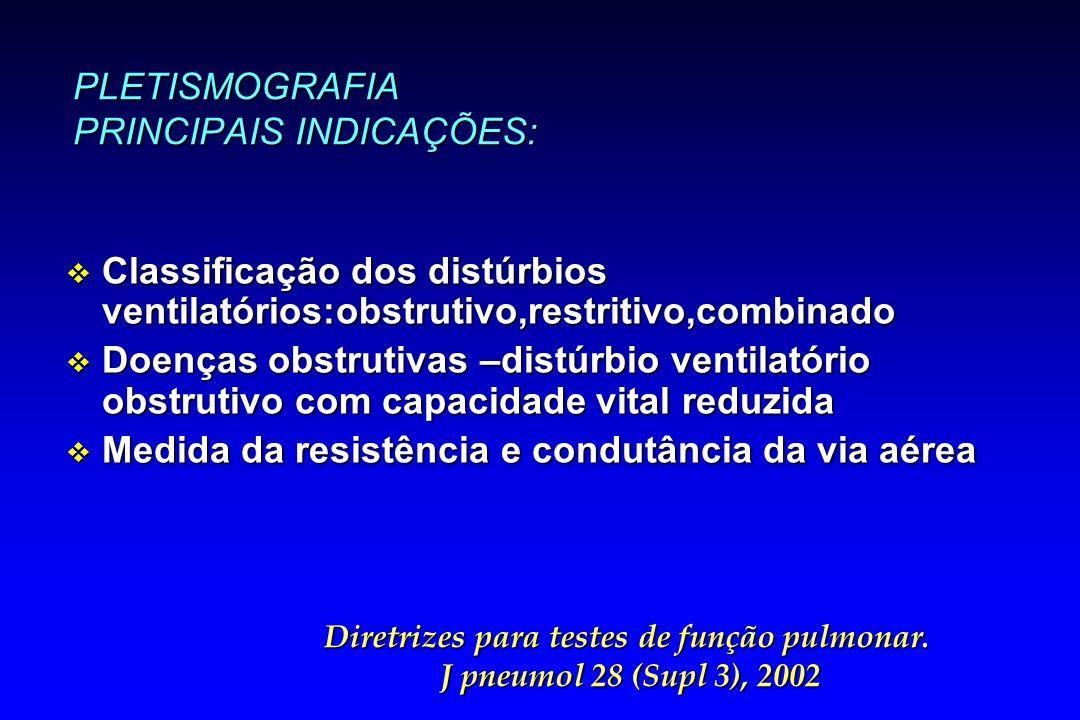 PLETISMOGRAFIA PRINCIPAIS INDICAÇÕES: v Classificação dos distúrbios ventilatórios:obstrutivo,restritivo,combinado v Doenças obstrutivas –distúrbio ve