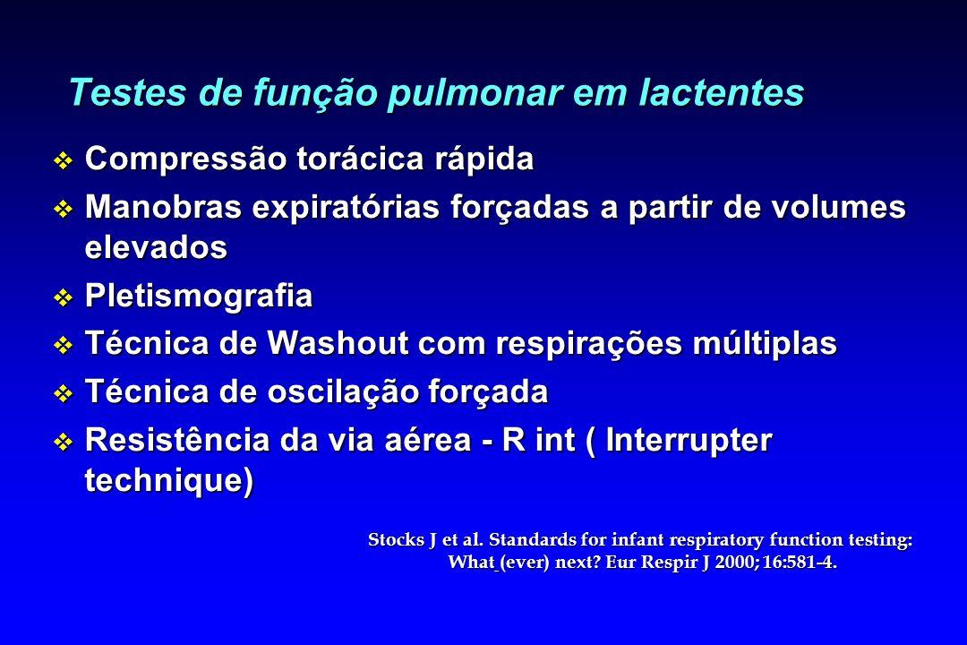 Testes de função pulmonar em lactentes v Compressão torácica rápida v Manobras expiratórias forçadas a partir de volumes elevados v Pletismografia v T
