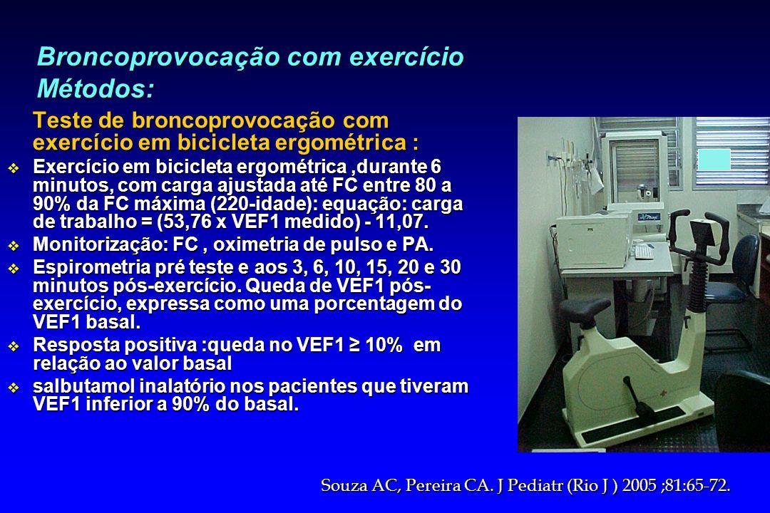 Broncoprovocação com exercício Métodos: Teste de broncoprovocação com exercício em bicicleta ergométrica : v Exercício em bicicleta ergométrica,durant