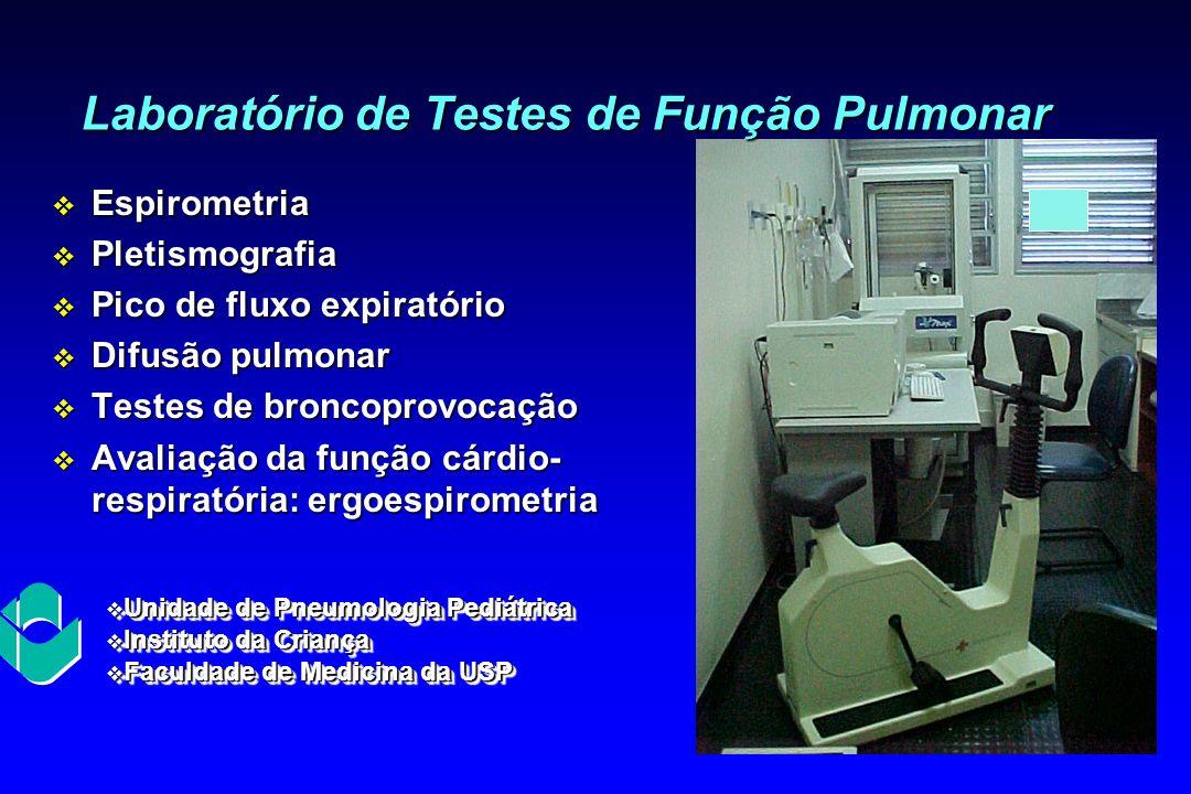 v Espirometria v Pletismografia v Pico de fluxo expiratório v Difusão pulmonar v Testes de broncoprovocação v Avaliação da função cárdio- respiratória