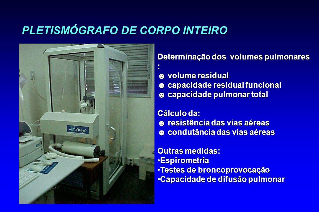 PLETISMÓGRAFO DE CORPO INTEIRO Determinação dos volumes pulmonares : volume residual volume residual capacidade residual funcional capacidade residual