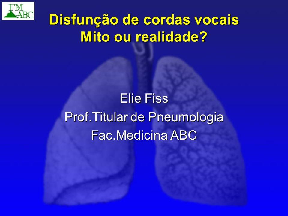 Disfunção de cordas vocais Entidade associada a disturbio funcional da laringe Entidade associada a disturbio funcional da laringe Forte componente psicossomático Forte componente psicossomático Dispnéia fictícia.