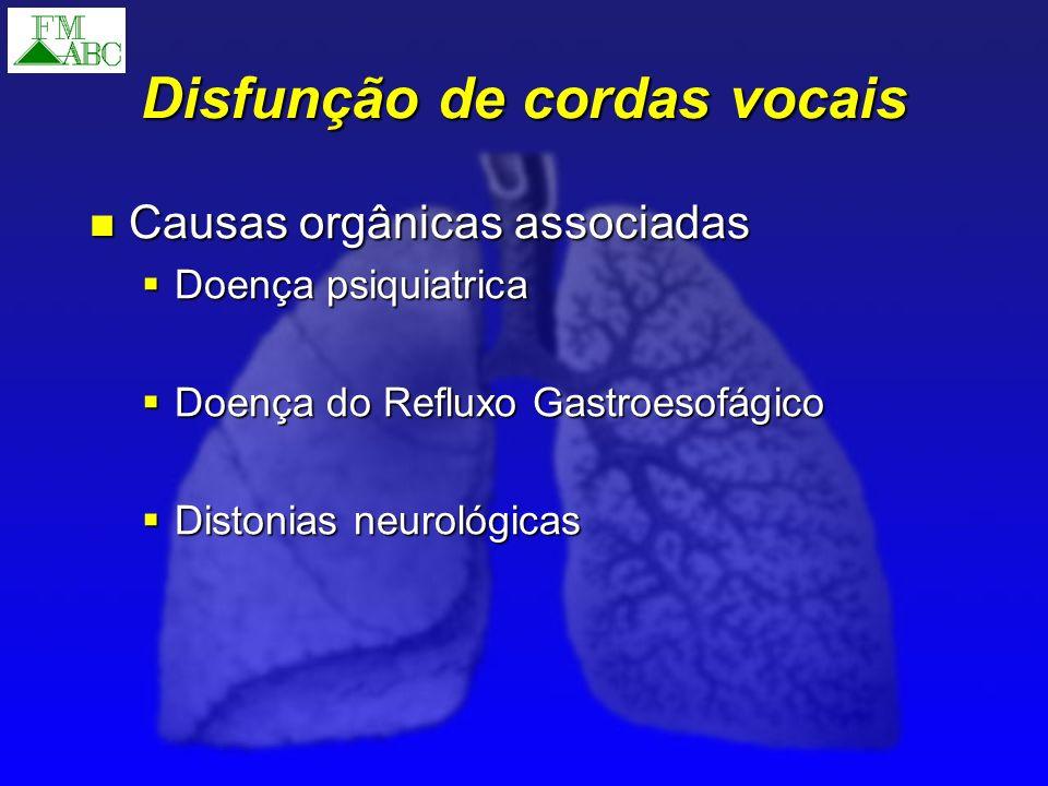 Disfunção de cordas vocais Causas orgânicas associadas Causas orgânicas associadas Doença psiquiatrica Doença psiquiatrica Doença do Refluxo Gastroeso