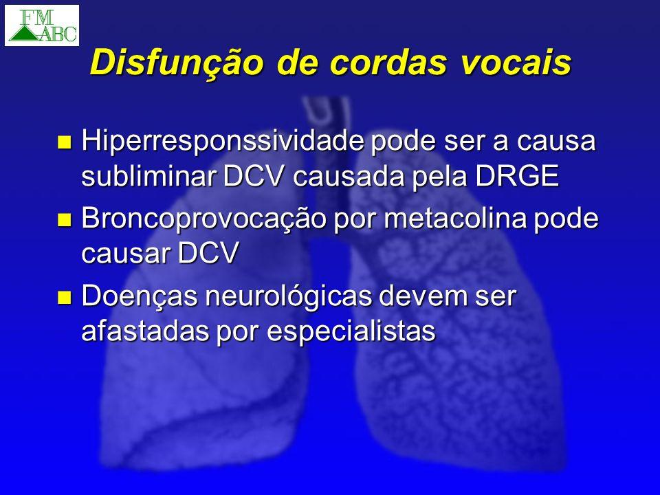 Disfunção de cordas vocais Hiperresponssividade pode ser a causa subliminar DCV causada pela DRGE Hiperresponssividade pode ser a causa subliminar DCV