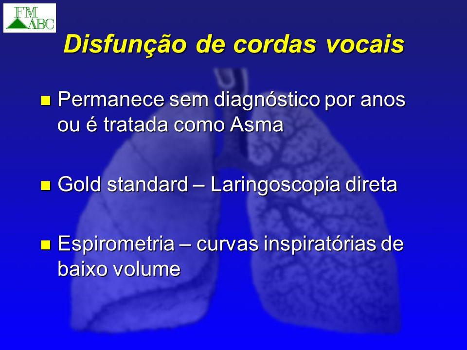 Disfunção de cordas vocais Permanece sem diagnóstico por anos ou é tratada como Asma Permanece sem diagnóstico por anos ou é tratada como Asma Gold st