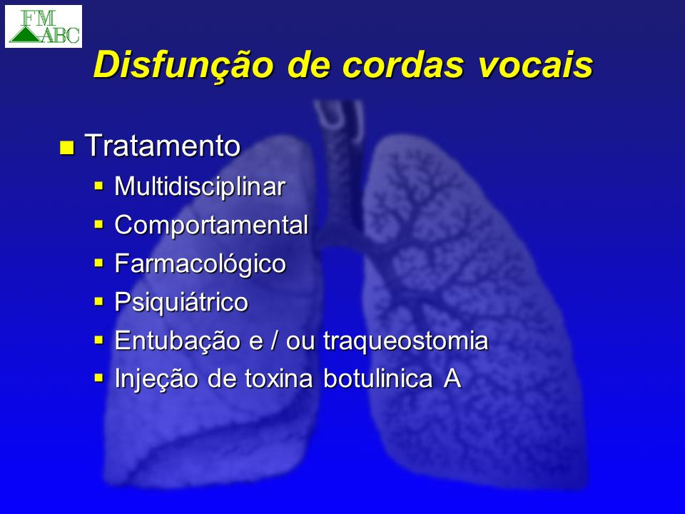 Disfunção de cordas vocais Tratamento Tratamento Multidisciplinar Multidisciplinar Comportamental Comportamental Farmacológico Farmacológico Psiquiátr