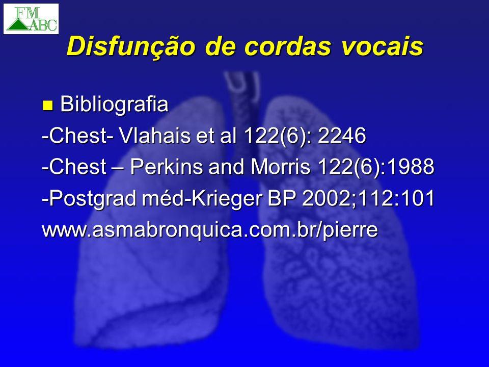 Disfunção de cordas vocais Bibliografia Bibliografia -Chest- Vlahais et al 122(6): 2246 -Chest – Perkins and Morris 122(6):1988 -Postgrad méd-Krieger