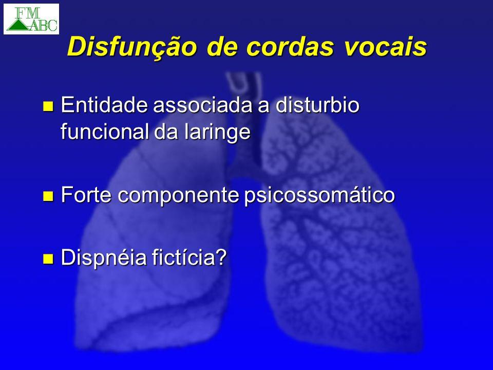 Disfunção de cordas vocais Entidade associada a disturbio funcional da laringe Entidade associada a disturbio funcional da laringe Forte componente ps