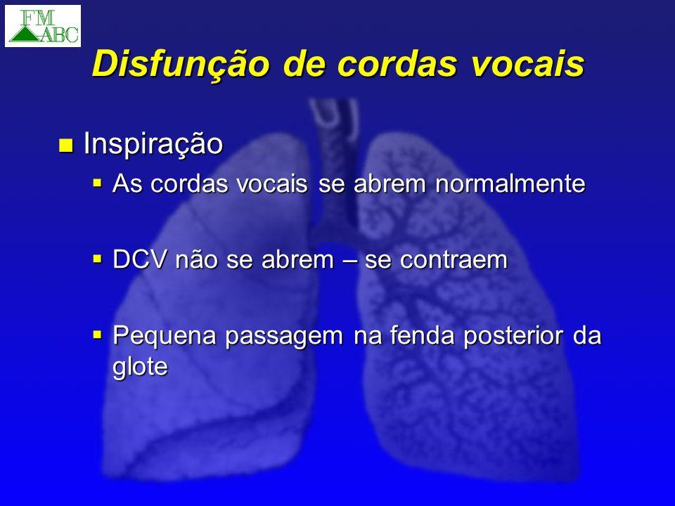 Disfunção de cordas vocais Tratamento Tratamento Multidisciplinar Multidisciplinar Comportamental Comportamental Farmacológico Farmacológico Psiquiátrico Psiquiátrico Entubação e / ou traqueostomia Entubação e / ou traqueostomia Injeção de toxina botulinica A Injeção de toxina botulinica A