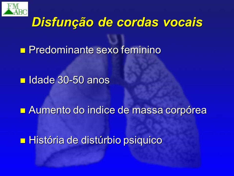 Disfunção de cordas vocais Predominante sexo feminino Predominante sexo feminino Idade 30-50 anos Idade 30-50 anos Aumento do indice de massa corpórea