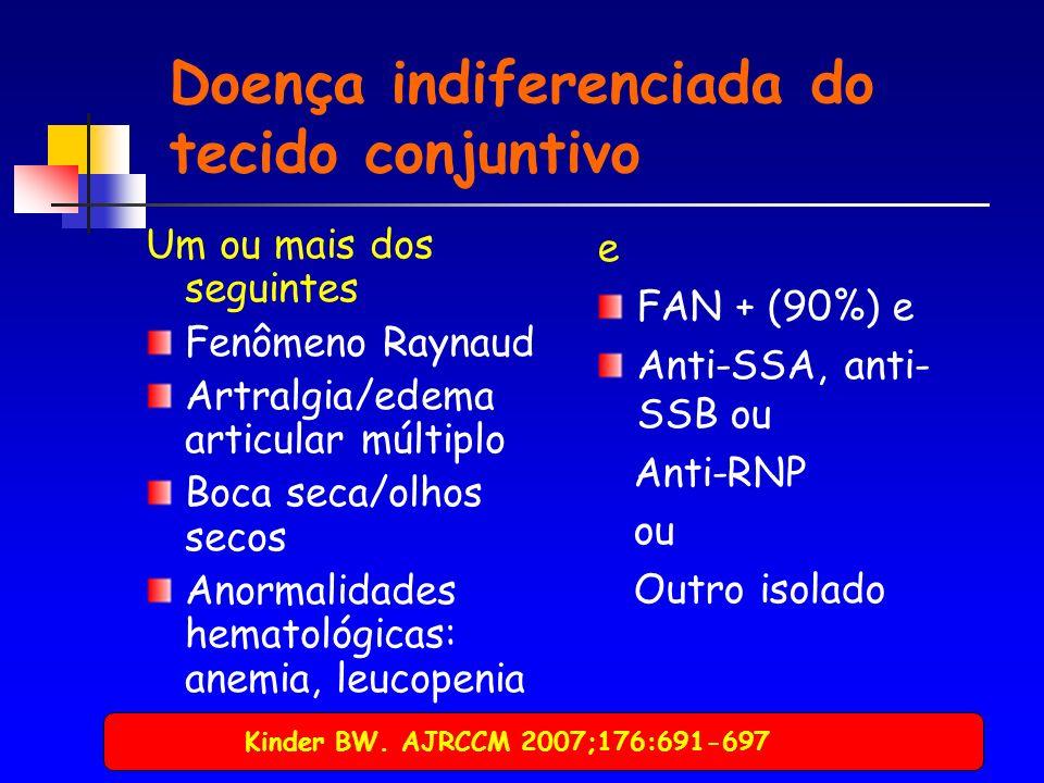 Doença indiferenciada do tecido conjuntivo Um ou mais dos seguintes Fenômeno Raynaud Artralgia/edema articular múltiplo Boca seca/olhos secos Anormalidades hematológicas: anemia, leucopenia e FAN + (90%) e Anti-SSA, anti- SSB ou Anti-RNP ou Outro isolado Kinder BW.