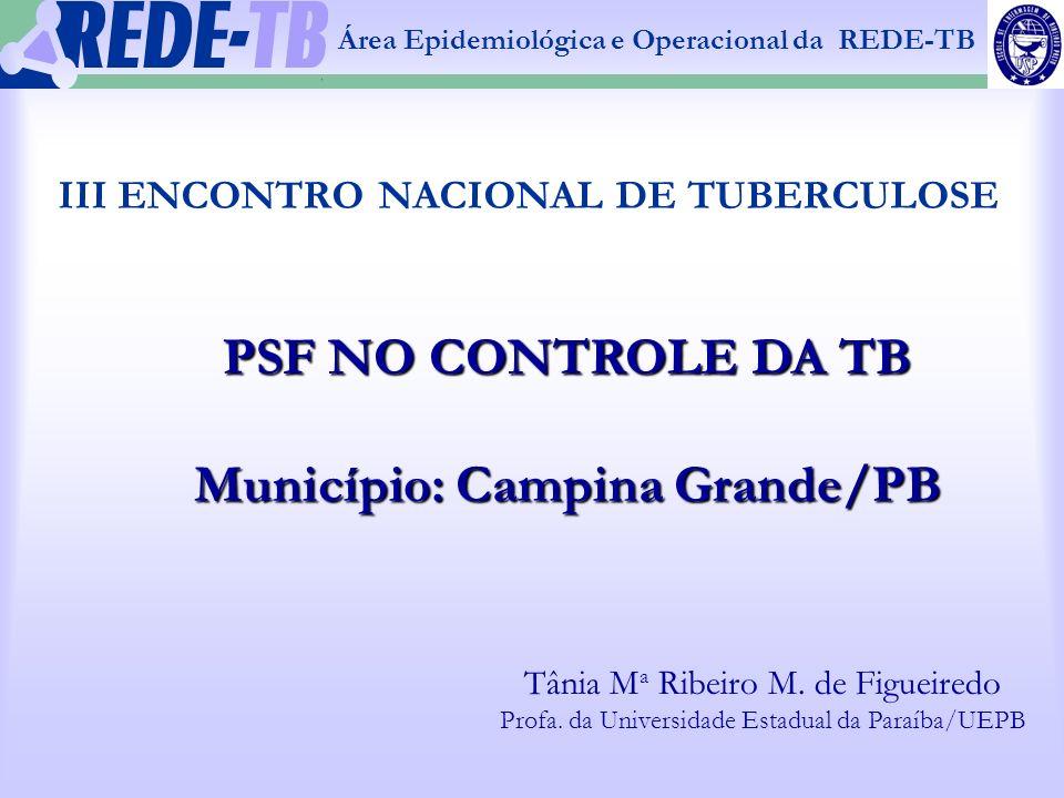 1 Área Epidemiológica e Operacional da REDE-TB IDENTIFICAÇÃO TERRITORIAL DO ESTADO DA PARAÍBA / MUNICÍPIOS PRIORITÁRIOS – 2005 PARAÍBA / MUNICÍPIOS PRIORITÁRIOS – 2005 Fonte: SES/CVE/N.P.S/ SINAN-W 09 37 98 26 257 20 Campina Grande Pop: 376.132 hab.
