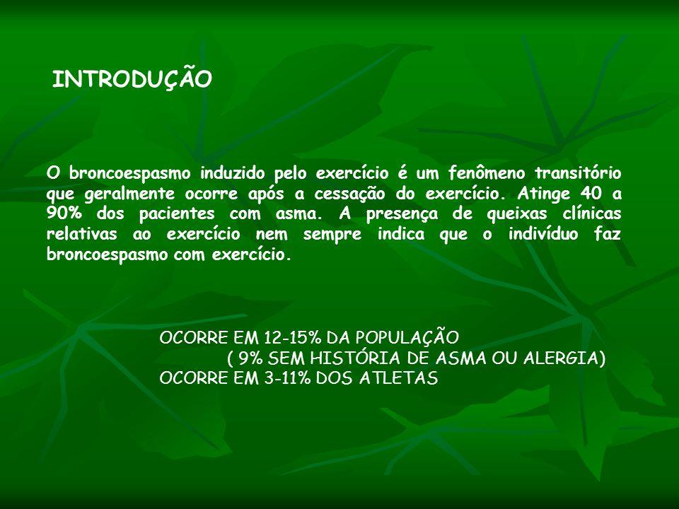 ESTÍMULO GRANDES VOLUMES DE AR PARA AQUECIMENTO E UMIDIFICAÇÃO PERDA DE CALOR PELA MUCOSA ALTERAÇÃO DA OSMOLARIDADE EPITELIAL LIBERAÇÃO DE MEDIADORES PRÓ-INFLAMATÓRIOS PELOS MASTÓCITOS E CÉLULAS EPITELIAIS CONTRAÇÃO DOS VASOS DA MUCOSA SEGUIDOS POR HIPEREMIA REATIVA COM CONGESTÃO BRÔNQUICA BRONCOESPASMO AO EXERCÍCIO EVENTOS FISIOPATOLOGICOS Weiler et al, J Allergy Clin Immunol, 2007