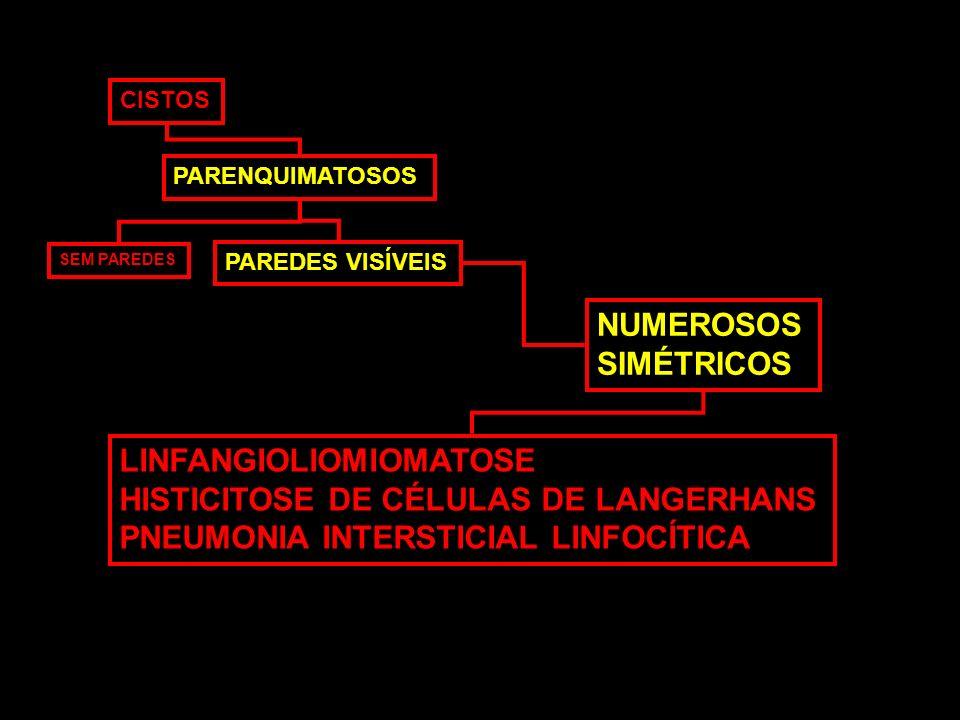 CISTOS PARENQUIMATOSOS SEM PAREDES PAREDES VISÍVEIS NUMEROSOS SIMÉTRICOS LINFANGIOLIOMIOMATOSE HISTICITOSE DE CÉLULAS DE LANGERHANS PNEUMONIA INTERSTI