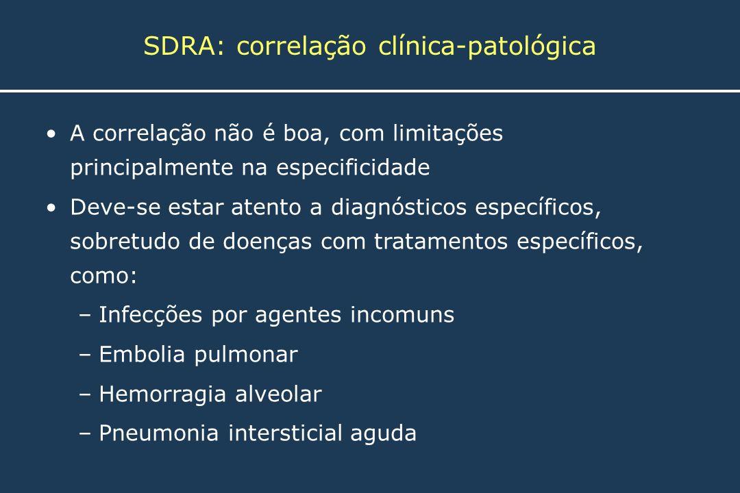 SDRA: correlação clínica-patológica A correlação não é boa, com limitações principalmente na especificidade Deve-se estar atento a diagnósticos especí