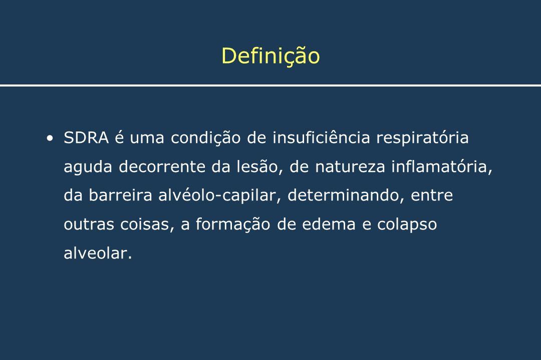 Definição SDRA é uma condição de insuficiência respiratória aguda decorrente da lesão, de natureza inflamatória, da barreira alvéolo-capilar, determin