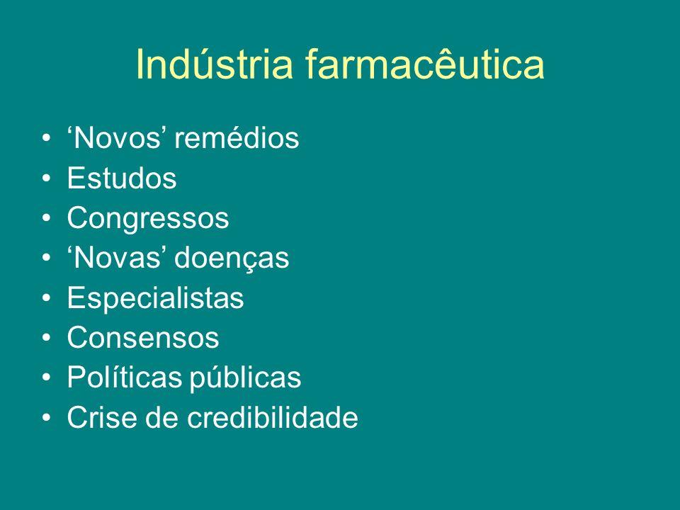 Indústria farmacêutica Novos remédios Estudos Congressos Novas doenças Especialistas Consensos Políticas públicas Crise de credibilidade